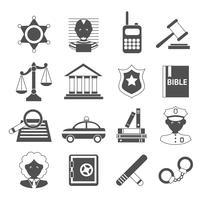 Ícones de lei brancos e pretos vetor