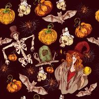 Padrão sem emenda de Halloween vetor