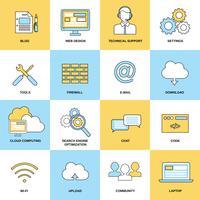 Ícones de linha plana da Web