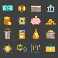 Ícones de finanças do dinheiro