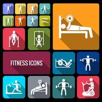 Conjunto de ícones de treinamento treino plana