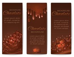 Banners de salpicos de chocolate vetor