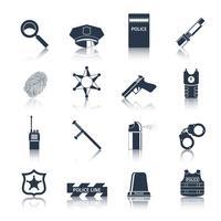 Conjunto de ícones de polícia preto