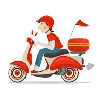Ícone de entrega de scooter vetor