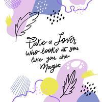 Formas orgânicas coloridas com folhas e fundo de citação inspiradora vetor