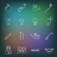 Contorno de ícones dentais vetor