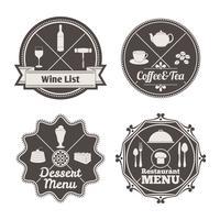 Rótulos de menu do restaurante