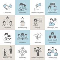 Linha de ícones de trabalho em equipe