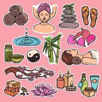Cor de ícones de esboço de spa