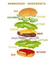 Conjunto de ingredientes de hambúrguer vetor