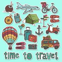 Conjunto de adesivos de desenho de viagens vetor