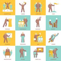 Linha plana de ícones de liderança