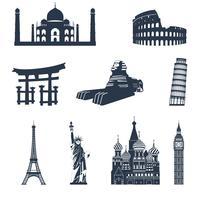 Monumentos famosos do mundo negro vetor