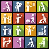 Ícones de trabalhador de construção brancos vetor