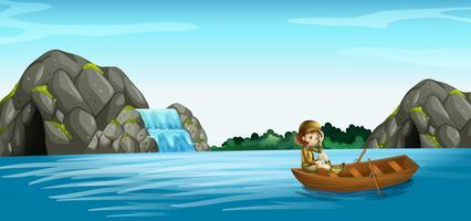 Cena da natureza com garota em barco a remo