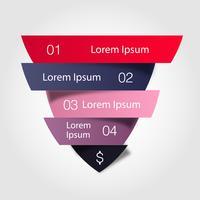 Funil de vendas. Infográfico de negócios de vetor. Ilustração do triângulo de cor dividido cortado em quatro partes com pequena sombra.