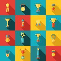 Conjunto de ícones de troféu plana vetor