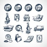 Ícones de compras on-line vetor