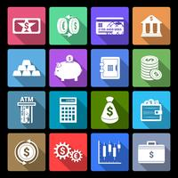 Ícones de finanças de dinheiro