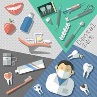 Conjunto de adesivos odontológicos vetor