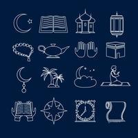 Ícones do Islã definir contorno vetor