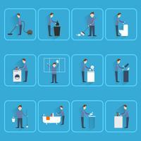 Limpeza de pessoas ícones planas vetor