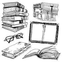 Conjunto de desenho de livros