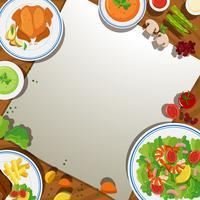 Modelo de plano de fundo com comida na mesa vetor