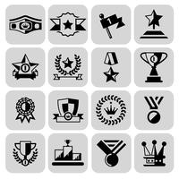 Prêmio ícones conjunto preto