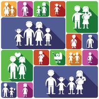 Conjunto de ícones familiares planas