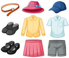 Menina e menino uniforme conjunto vetor