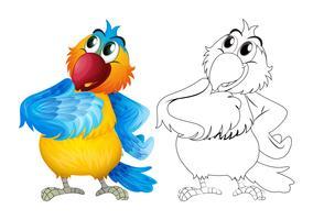Contorno animal para papagaio bonito vetor