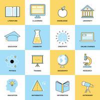 Ícones de linha plana de educação vetor