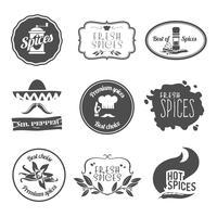 Etiquetas de especiarias pretas