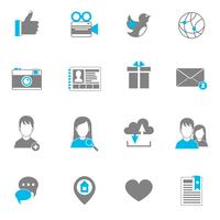 Conjunto de ícones sociais plana