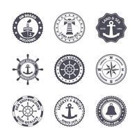 Conjunto de etiquetas do porto marítimo vetor