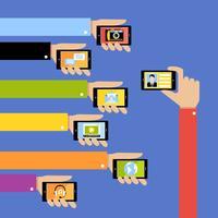Mãos de negócios com gadgets