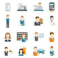 conjunto de ícones vendedor plano