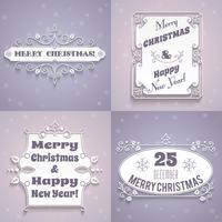 Conjunto de rótulos de Natal branco vetor