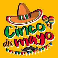 Cartaz de cinco de maio com chapéu e maracas vetor
