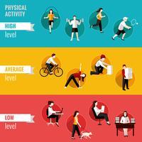 Banners horizontais de atividade física vetor