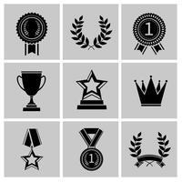 Prêmio ícones conjunto preto vetor