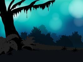 Silhueta da natureza com árvores e grama e céu azul desbotado vetor