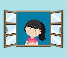 Garota feliz pela janela vetor