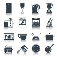 Ícones de aparelhos de cozinha preto vetor