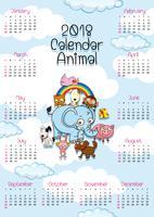 modelo de calendário com animais fofos vetor