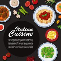 Design de cartaz de cozinha italiana com diferentes placas vetor