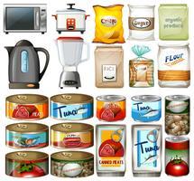 Alimentos enlatados e aparelhos eletrônicos de cozinha vetor