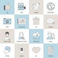 Conjunto de linha plana de ícones sociais