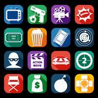 Conjunto de ícones de filme de ação vetor